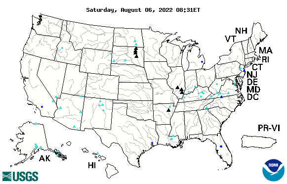 Example map showing flood and high flow conditions in the United States on April 26, 2011, taken from WaterWatch website. Click the map to view the most recent data.