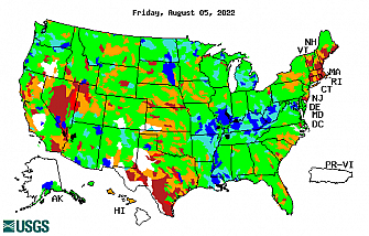 1-day streamflow conditon map