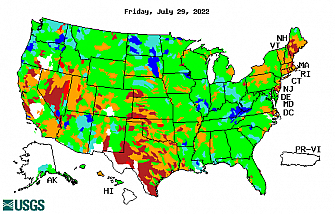 28-day streamflow conditon map