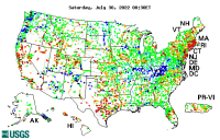 Map of current water resources conditions in the U.S.