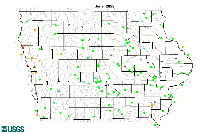 Map of monthly streamflow compared to historical streamflow for the month of the year