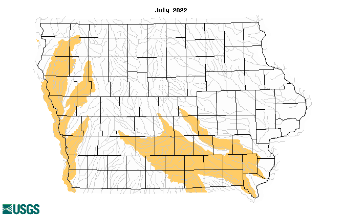 Map of below normal monthly average streamflow compared to historical streamflow for the month of year (Iowa)