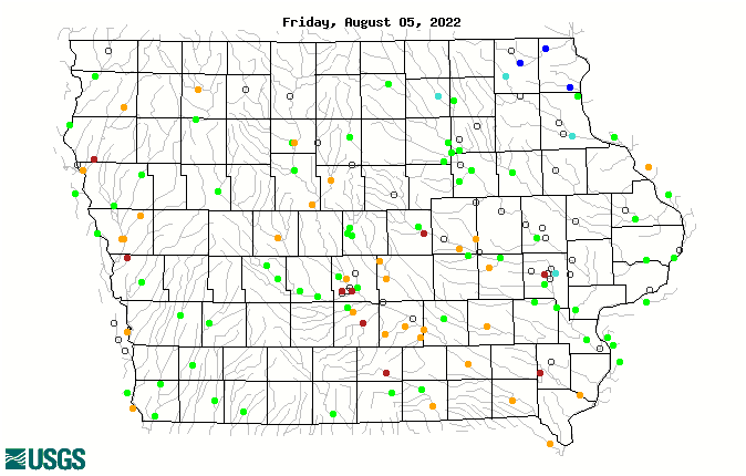 Map of 1-day average streamflow compared to historical streamflow for the day of the year