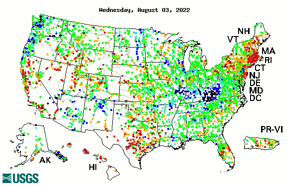 7-day average streamflow compared to historical streamflow