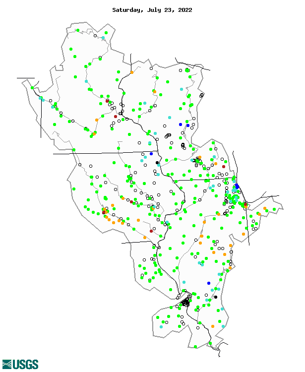 Map showing the upper midwest 7-day average streamflow from the US Geological Survey