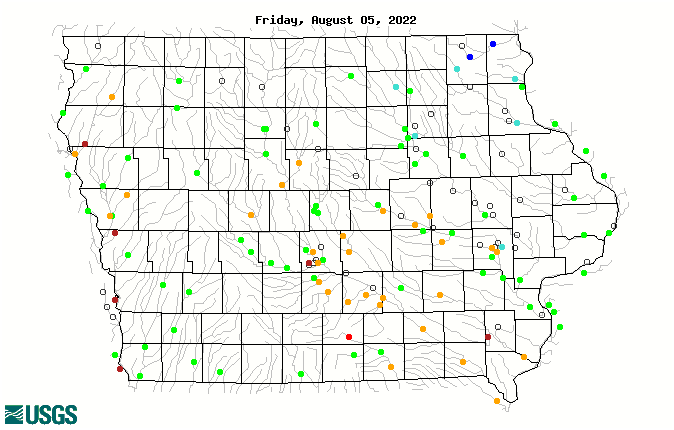 Map of 7-day average streamflow compared to historical streamflow for the day of the year