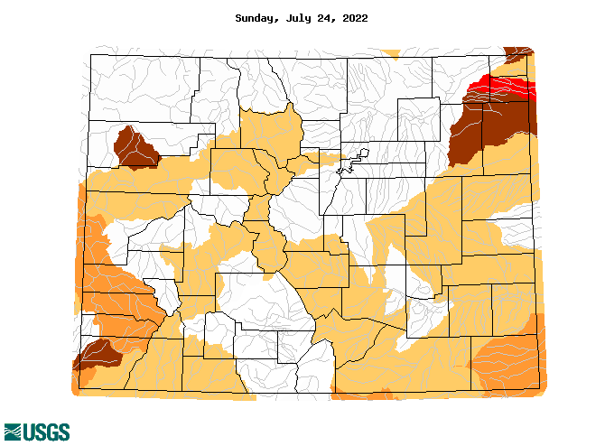 below normal 7-day average streamflow condition map