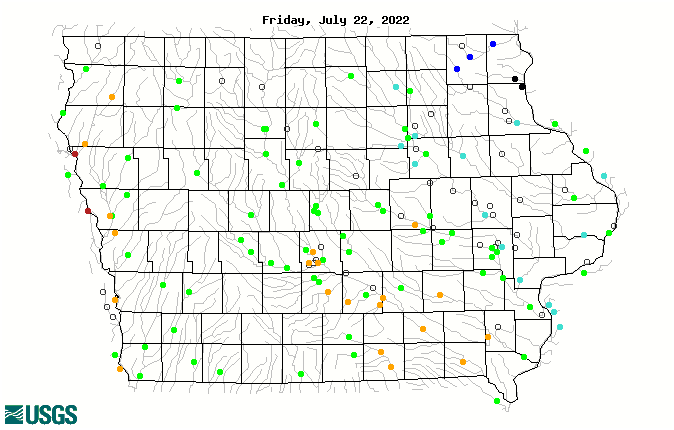 Map of 14-day average streamflow compared to historical streamflow for the day of the year