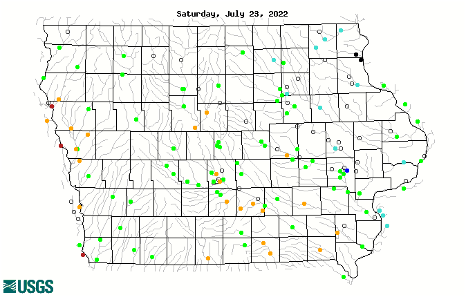 Map of 28-day average streamflow compared to historical streamflow for the day of the year