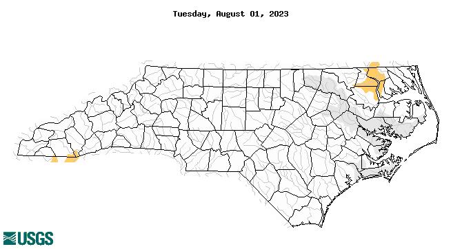 South Atlantic Water Science Center Drought Monitoring - Map georgia north carolina