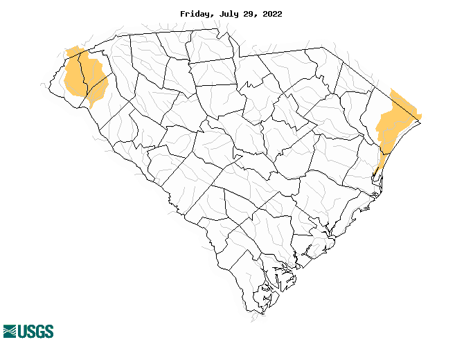 South Atlantic Water Science Center Drought Monitoring - Map of nc and sc