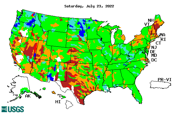 Map of 28-day average streamflow compared to historical streamflow for the day of the year (United States)