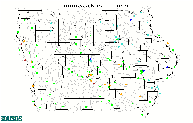 Map of real-time streamflow compared to historical streamflow for the day of the year