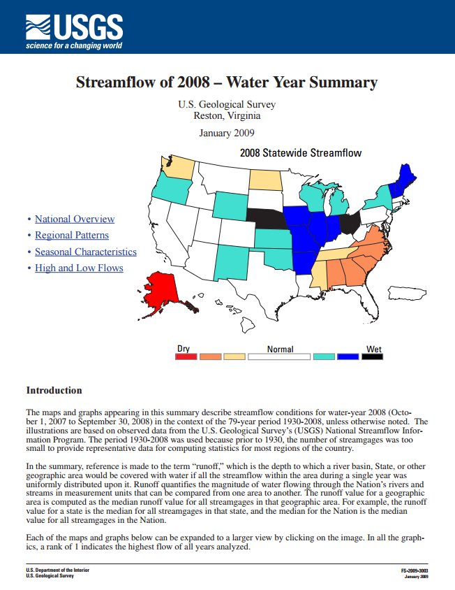 Streamflow -- Water Year 2008