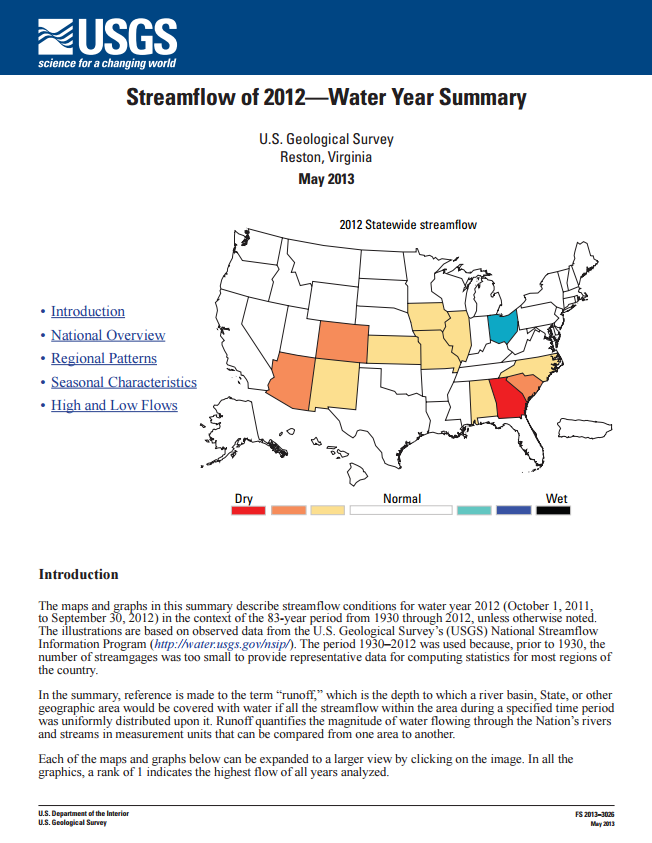 Streamflow -- Water Year 2012