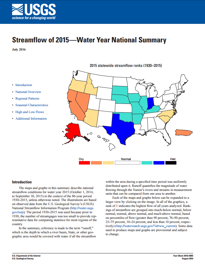 Streamflow -- Water Year 2015