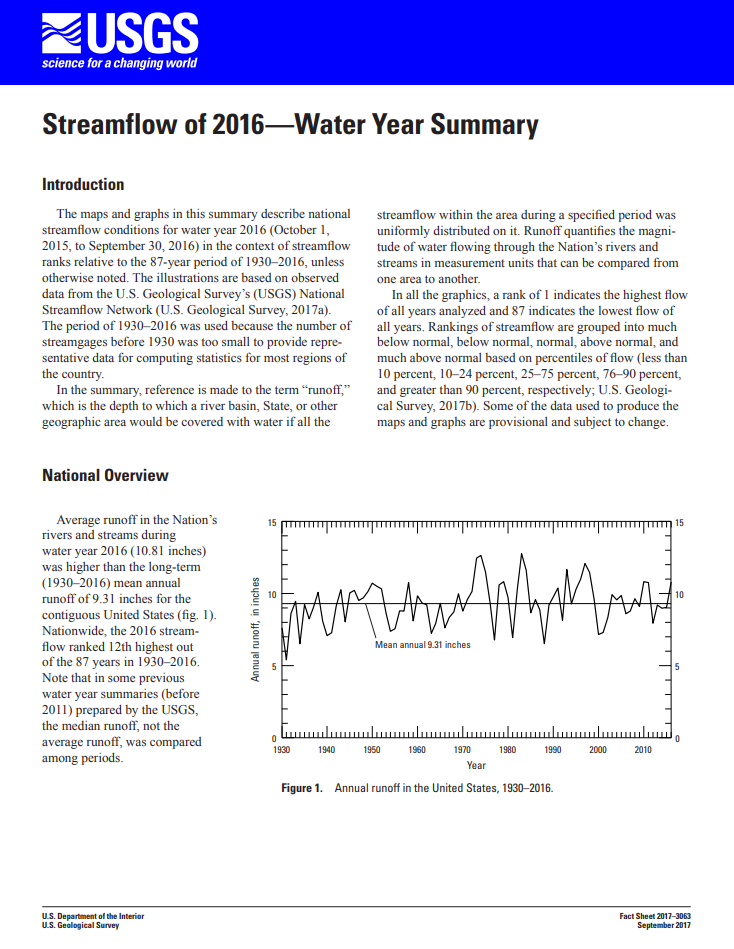 Streamflow -- Water Year 2016