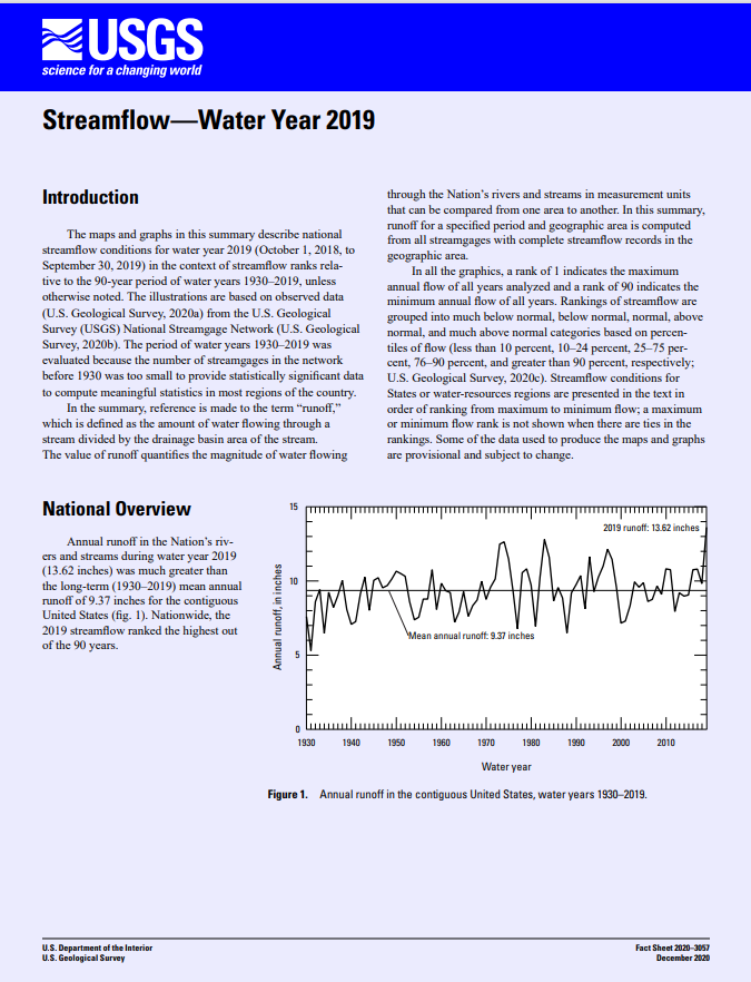 Streamflow -- Water Year 2019